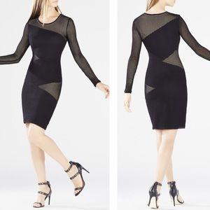 BCBGMAXAZRIA Tanya Asymmetrical Mesh-Blocked Dress